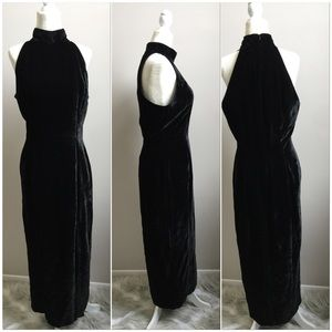 Vintage 90s Velvet High Neck Halter Maxi Dress